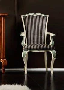 Bourbon Art. 94.7086, Sedia capotavola imbottita, con gambe rastremate