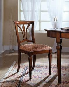 D 601, Sedia con seduta rivestita in tessuto made in Italy