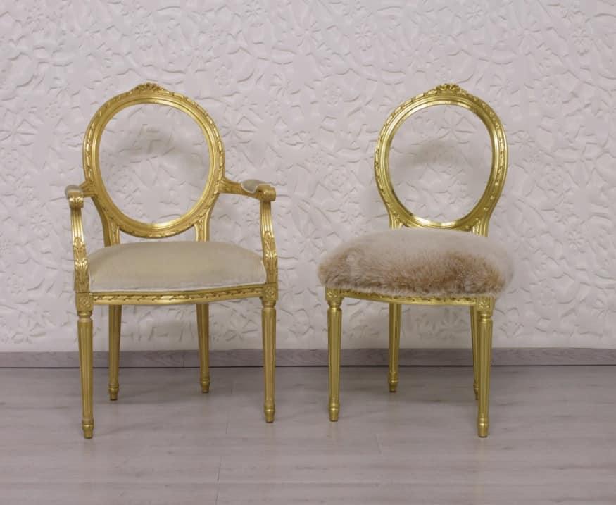 Lussuosa sedia in legno intagliato seduta imbottita for Sedia design amazon