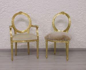 Dama, Lussuosa sedia, in legno intagliato, seduta imbottita