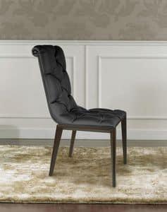 Epoque, Sedia classico moderno, in legno, capitonnè