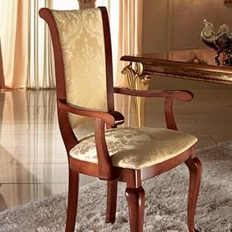 Sedia imbottita con braccioli essenziale e for Sedia design pranzo