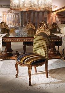 Hermitage B/2071/C, Sedia classica di lusso con seduta e schienale imbottiti