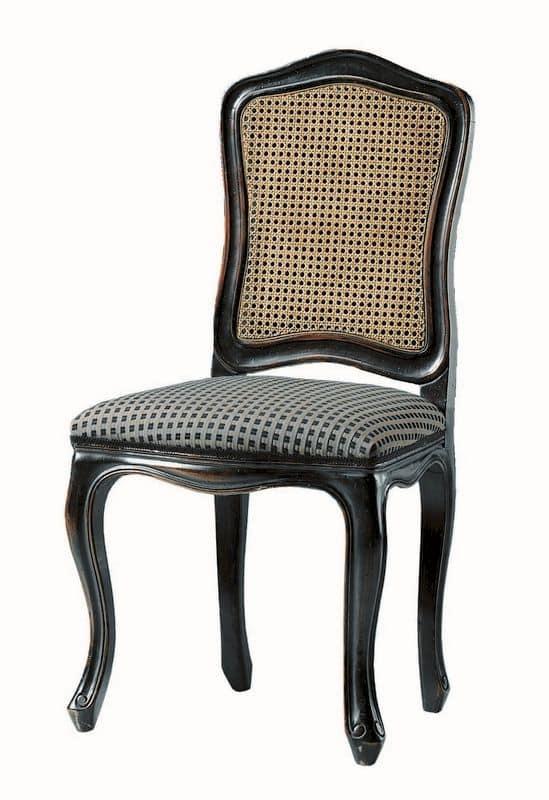 Sedia laccata in nero sedile imbottito schienale in for Sedia design paglia di vienna
