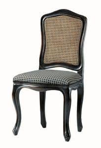 Kandisky RA.0985, Sedia laccata in nero, sedile imbottito, schienale in paglia di Vienna
