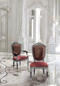 LG/500/S.LG/500/P, Sedia classica di lusso con seduta e schienale imbottiti