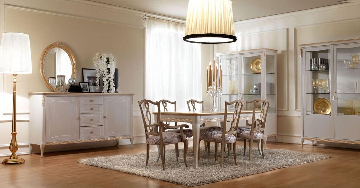 Sedia in stile classico in legno con seduta imbottita per sala da pranzo idfdesign - Tende per sala da pranzo classica ...