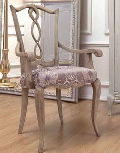 Live 4 sedia capotavola, Sedia capotavola in stile classico, in legno con seduta imbottita, per sala da pranzo