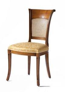 Lyon VS.1208, Sedia in noce, sedile imbottito, schienale in paglia di Vienna,  per salotti in stile classico