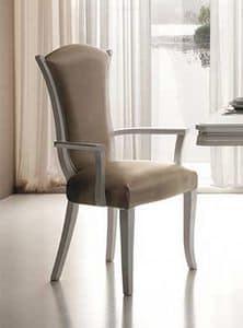 Mir� sedia, Sedia con braccioli in legno, imbottita e rivestita in velluto