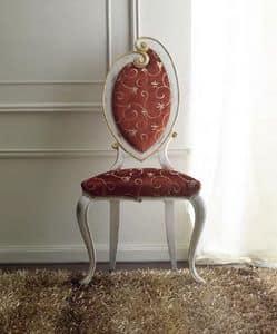 Morgana 504 sedia, Sedia elegantemente decorata a mano, per sala da pranzo, finitura bianco anticato con dettagli oro