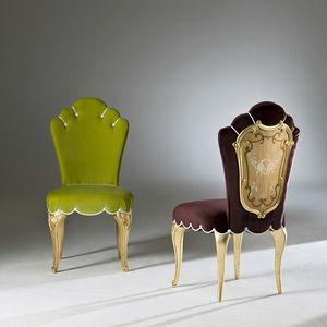 Palazzo PL213, Elegante sedia da pranzo, con gambe intagliate
