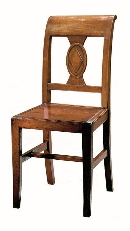 Piombino ME.0961.L, Sedia fatta interamente in legno, in stile classico
