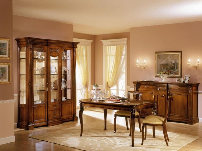 Sedia con seduta imbottita per sala da pranzo idfdesign - Tende per sala da pranzo classica ...