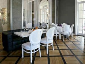 Rotondo, Sedia classica imbottita, per sale da pranzo e ristoranti di lusso
