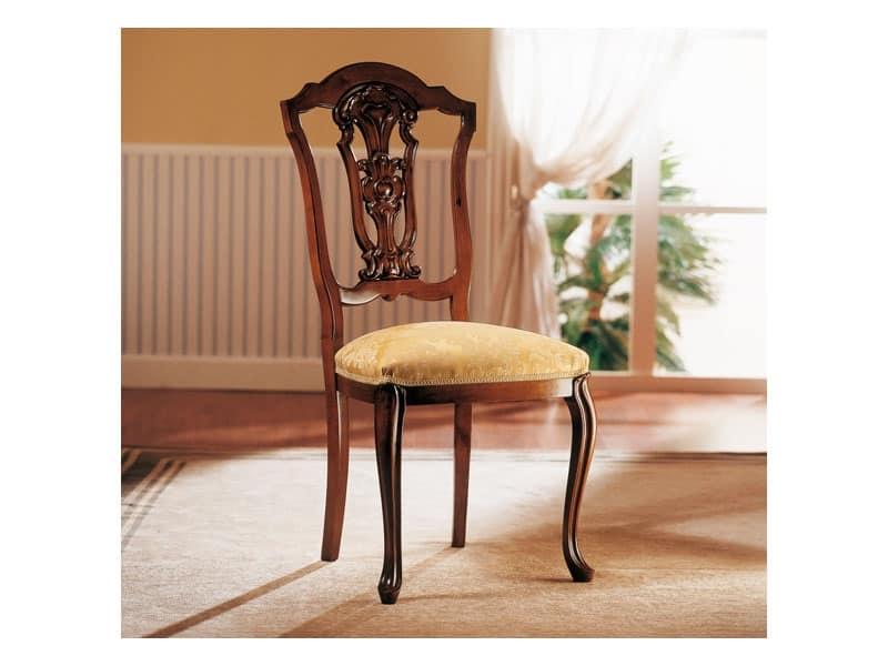 Sedie Classiche Imbottite Per Sala Da Pranzo.Sedia In Legno Con Seduta Imbottita Per Sala Da Pranzo