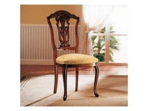 ROYAL NOCE / Sedia, Sedia in legno con seduta imbottita, per sala da pranzo