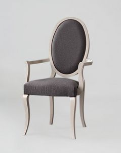 S16P, Elegante sedia con braccioli, schienale ovale