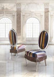 SB/3215/S, Sedia classica di lusso con seduta e schienale imbottiti