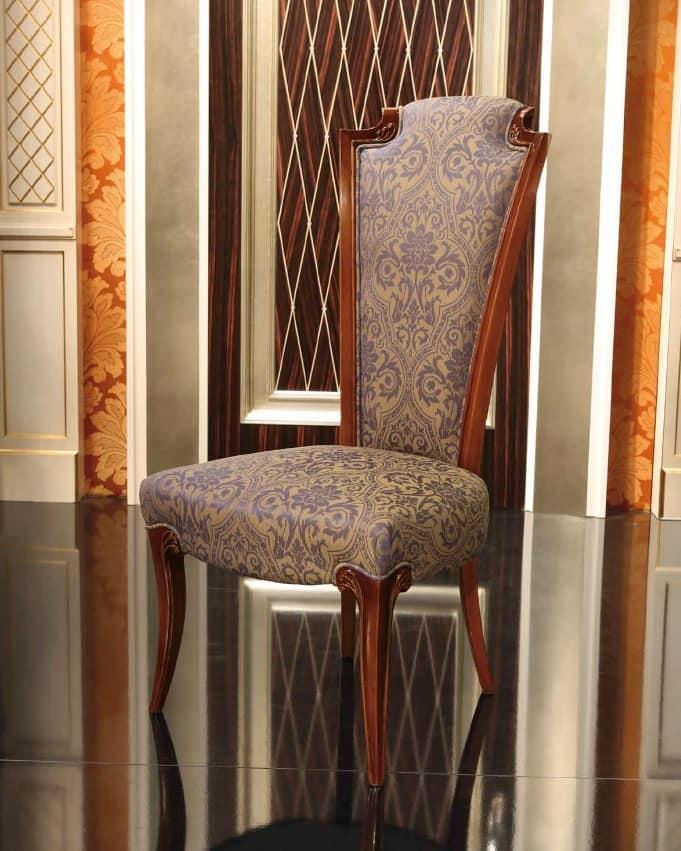 Sedia Impero, Sedia classica in legno imbottita, con schienale alto