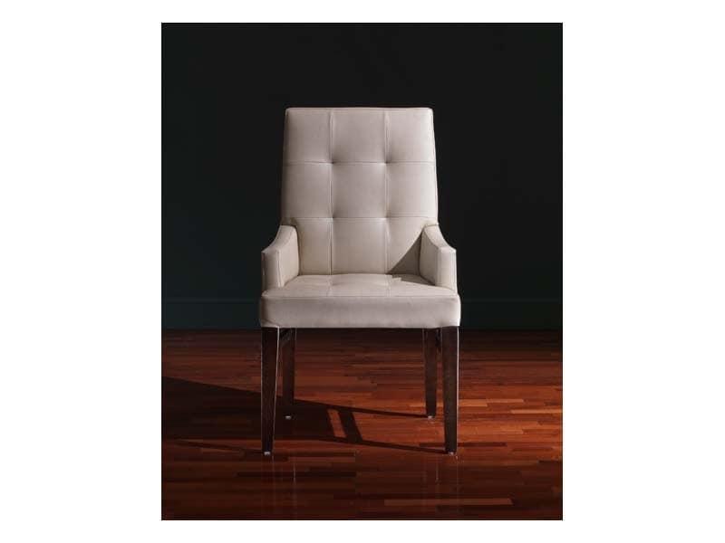 Sedie In Legno Rivestite In Pelle.Sedia Con Braccioli In Stile Rivestita In Pelle Idfdesign
