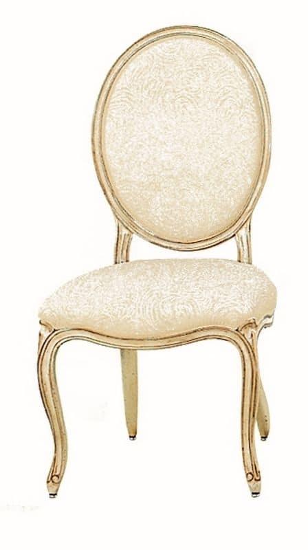 Tavernier LU.0981, Sedia imbottita classica in legno con schienale rotondo