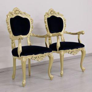 Venezia oro tessuto, Sedia classica di lusso con finiture foglia oro e tessuto rosso
