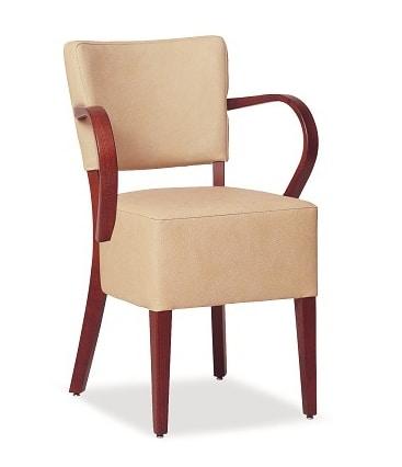 326, Sedia con ampia seduta imbottita, con braccioli