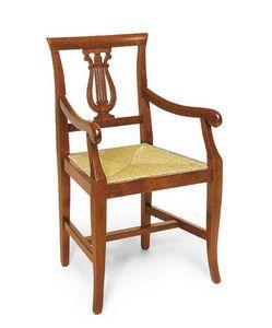 Art. 101/A, Sedia in legno con braccioli, decoro a forma di arpa