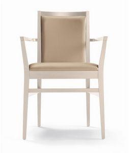 ER 440041, Sedia in legno con braccioli, per ristorante