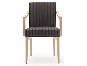 Milena-P1, Sedia in legno per ristorante e albergo, con braccioli