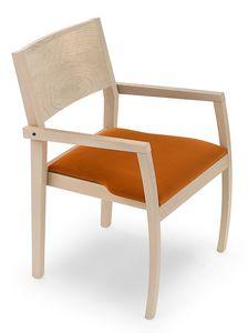 Omega ARMS, Sedia in legno con braccioli, seduta imbottita