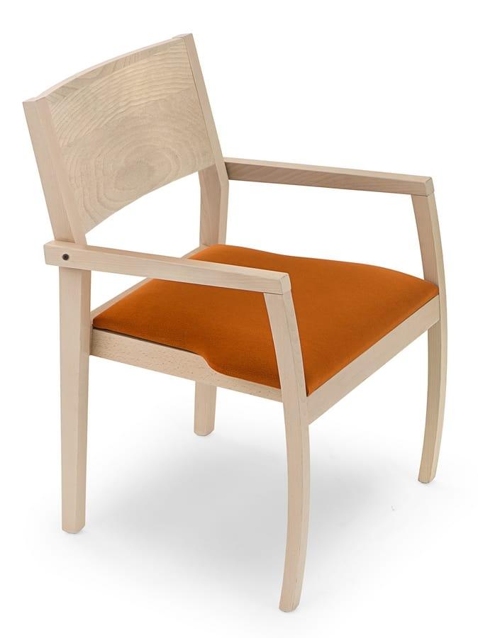 Sedia in legno con braccioli seduta imbottita idfdesign - Sedia imbottita con braccioli ...