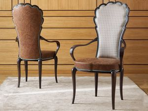 Pompeivm sedia, Sedia con braccioli, rivestita in pelle