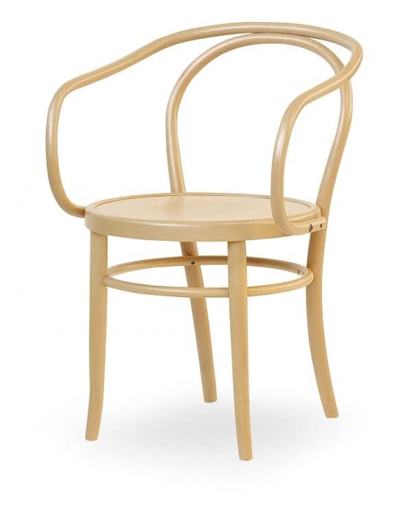 V12, Sedia in legno con braccioli