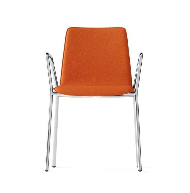 Sedia Imbottita Con Braccioli : Sedia imbottita con braccioli telaio gambe cromato idfdesign