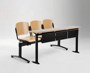 Cortina panca mobile con tavolo universitario, Panca con sedute e schienali in multistrato, per univesità