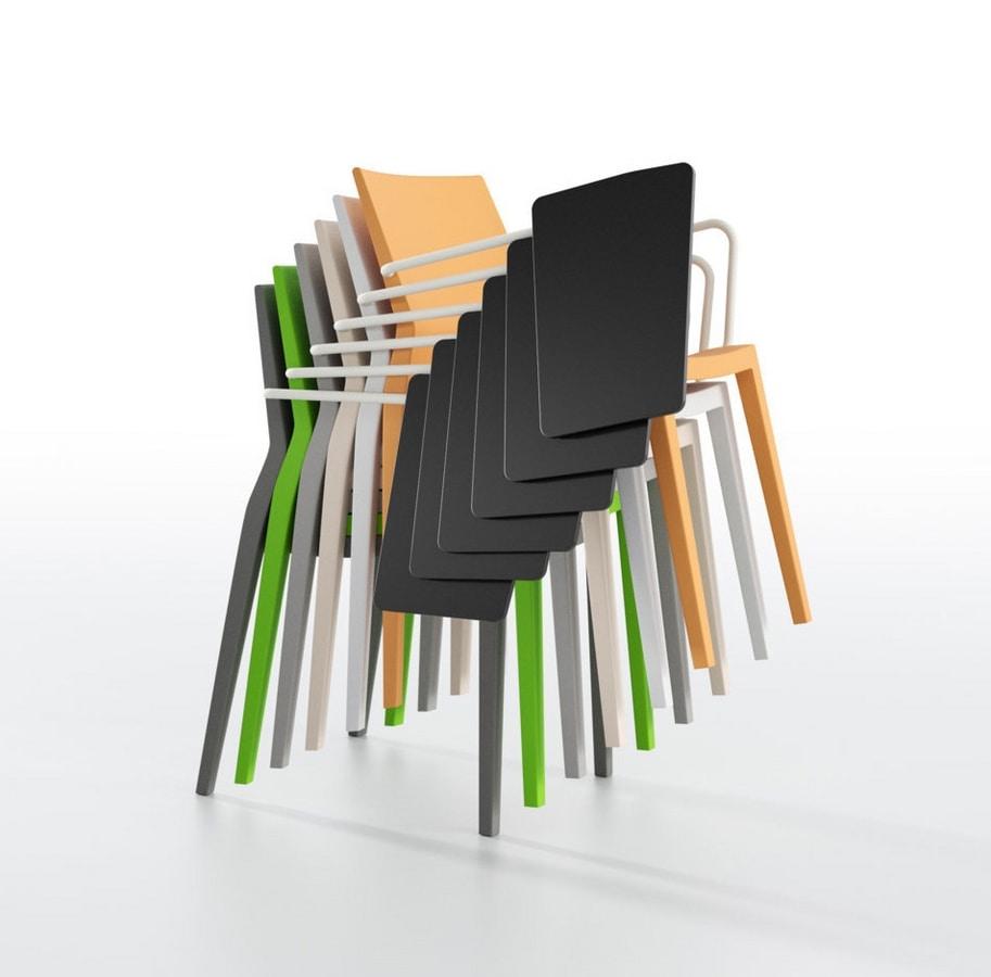 Sedia multifunzionale, con braccioli e tavoletta scrittura, per aule e sale conferenze  IDFdesign