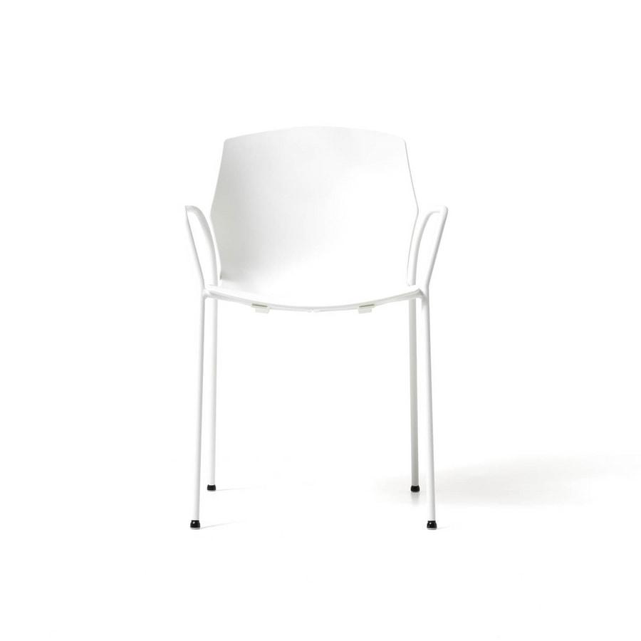 No Frill 4 gambe con braccioli, Elegante sedia per conferenza, attrezzabile con tavoletta