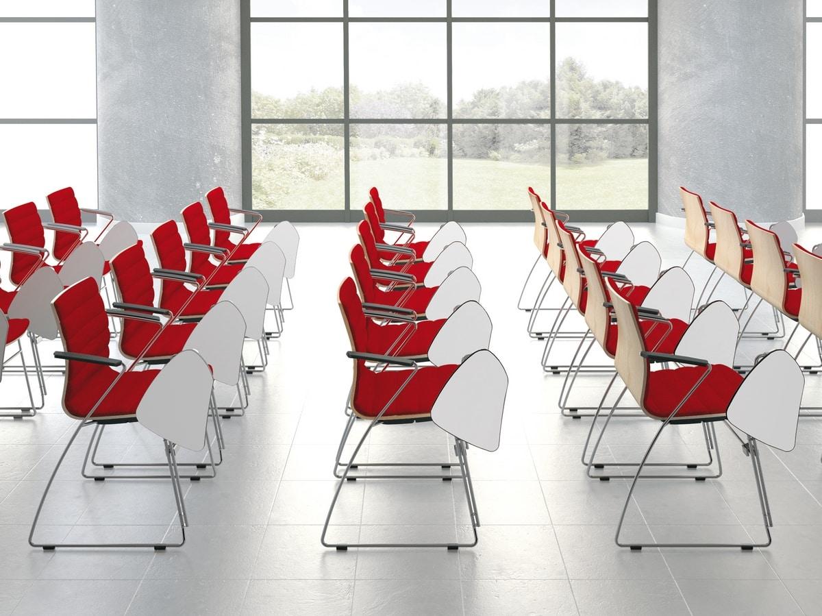 Q2 WIM, Sedia da conferenza agganciabile, con tavoletta scrittorio
