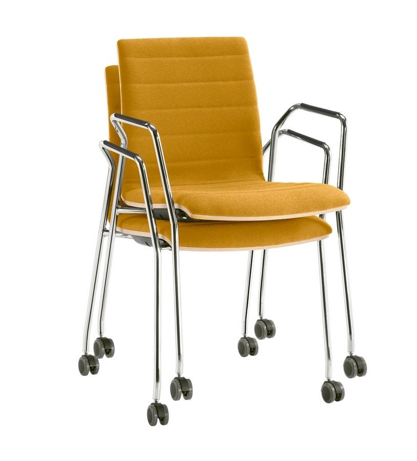 Q2 WIM, Sedia impilabile su ruote, attrezzabile con tavoletta scrittoio
