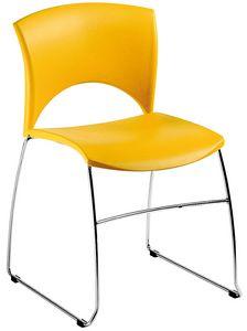 Sole, Sedia in metallo e polipropilene, per attesa e conferenze