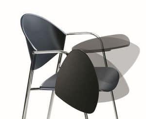 DELFI 085 TDX, Sedia in metallo cromato, seduta in polimero, con scrittoio