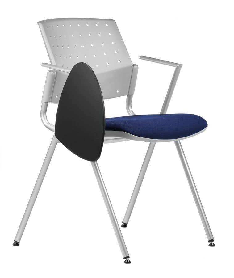 Sedia con seduta imbottita, base in metallo, tavoletta per ...