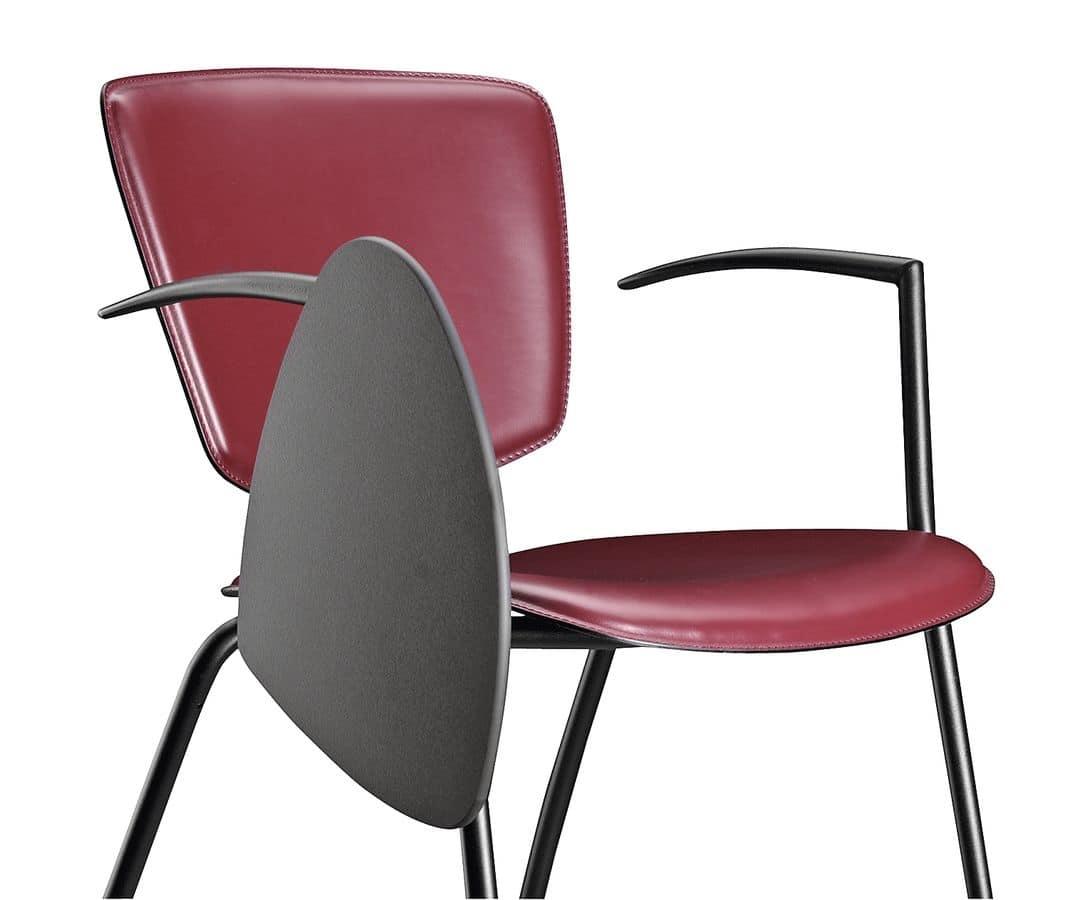 Sedia in metallo e cuoio con tavoletta per scrittura for Sedie di metallo