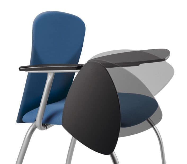 Sedia imbottita per conferenze, con tavoletta per scrittura | IDFdesign