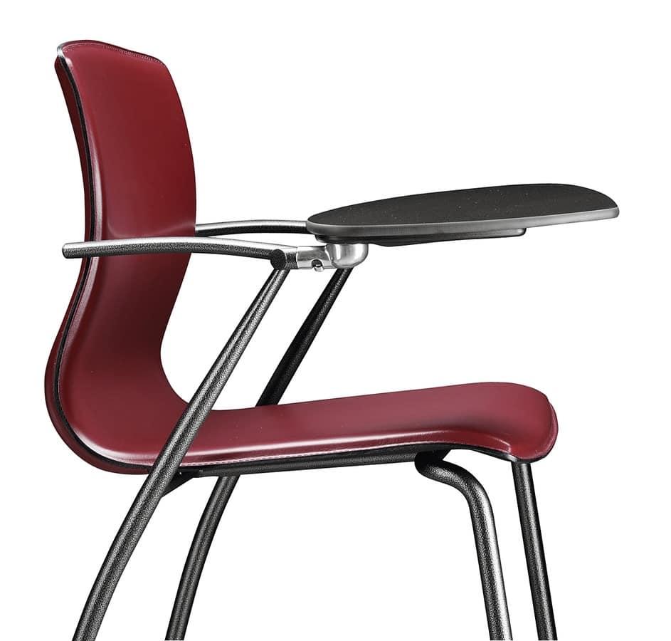 Sedia in metallo rivestimento della scocca in cuoio for Sedie design metallo