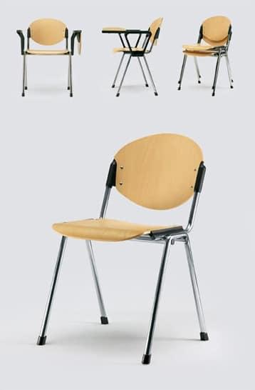 Sedia per meeting schienale e seduta in faggio naturale for Sedie design legno naturale