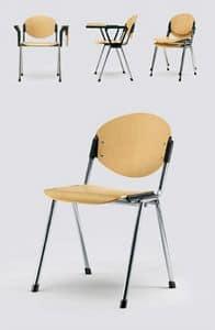 Bonn legno, Sedia per meeting, schienale e seduta in faggio naturale