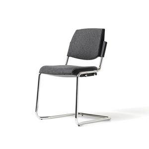 Bonn, Sedia con gambe cromate, impilabile, per sale conferenza